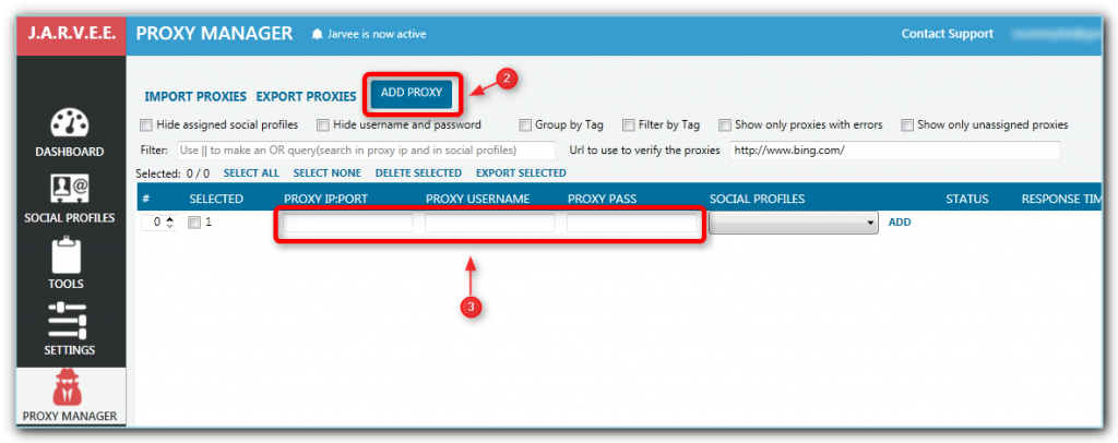 How to use the Proxy Manager - Jarvee