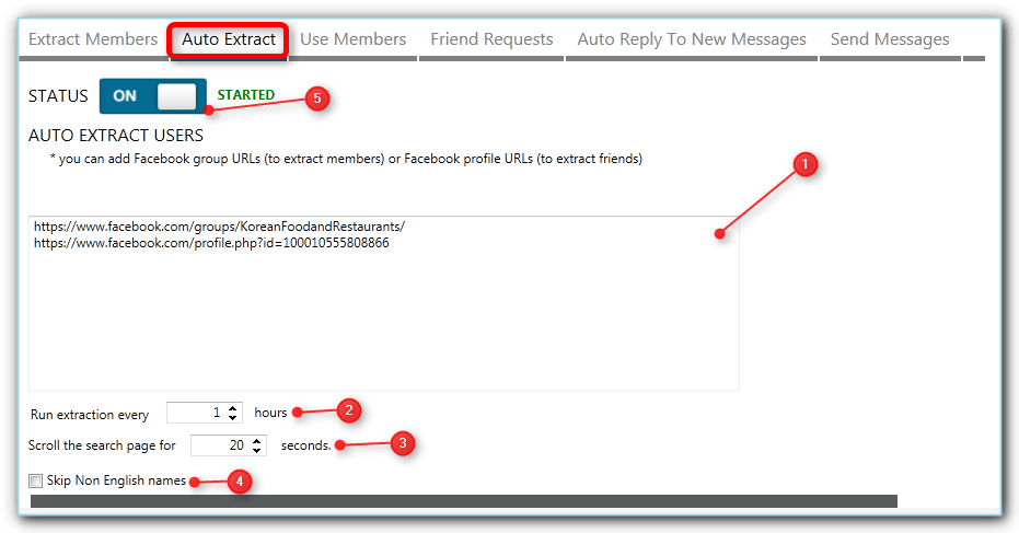 auto facebook members extraction with jarvee