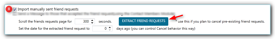 extracting manually sent friend requests with JARVEE