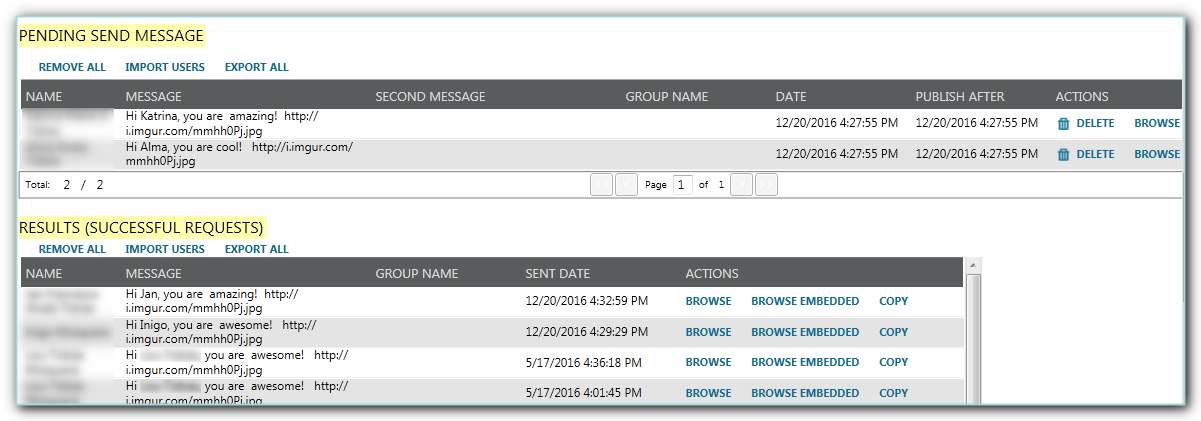 importing users in the pending send message table
