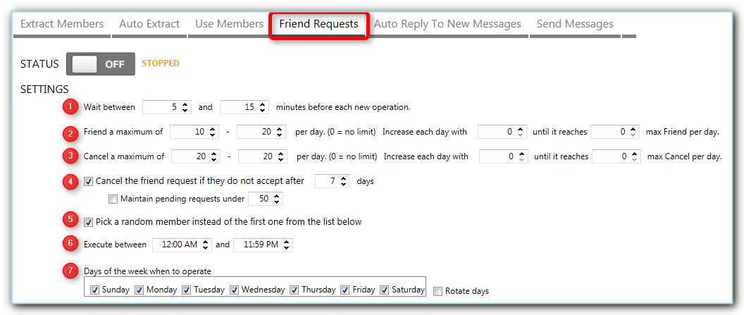 jarvee settings when sending friend requests