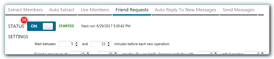 starting the Jarvee send friend requests tool