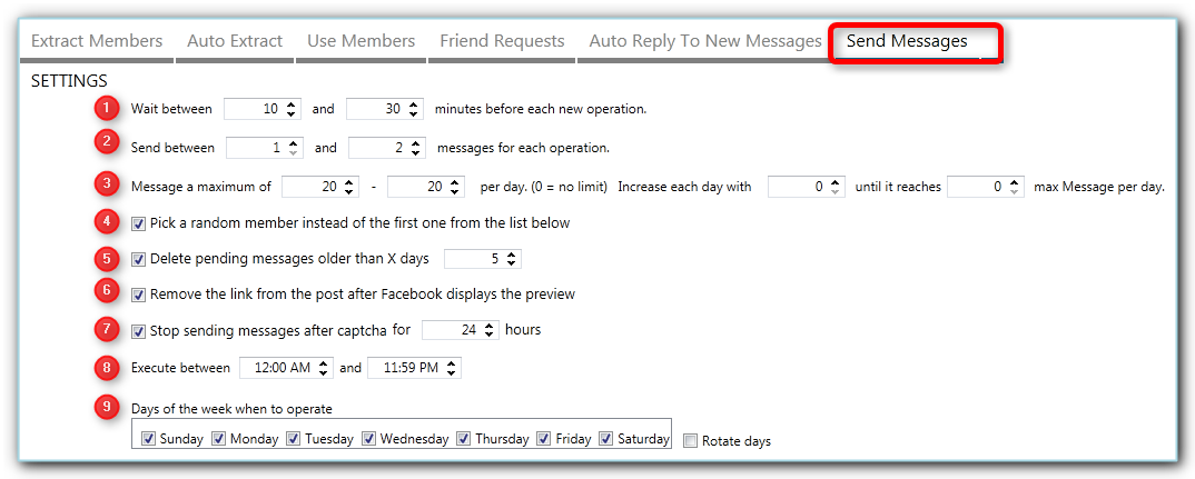 the send message to facebook people settings in Jarvee