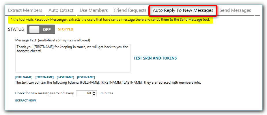 using auto reply to new facebook messages in jarvee