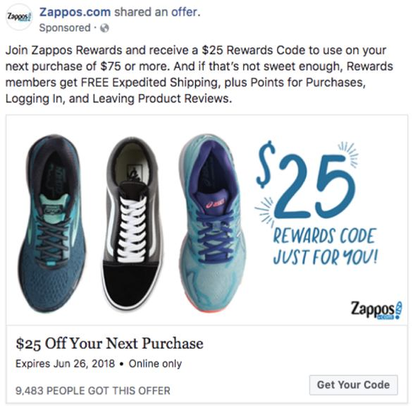 Zappos shared an exclusive coupon code
