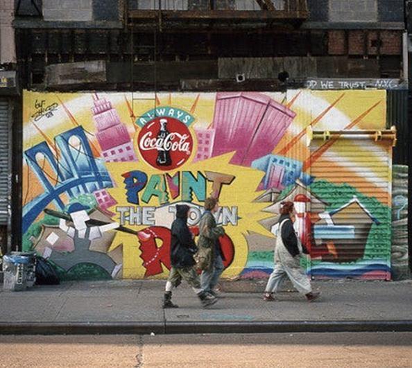 drawn logos or graffiti-like branded artwork