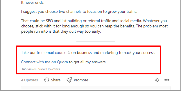 add 2 ctas at the end of your reply on quora