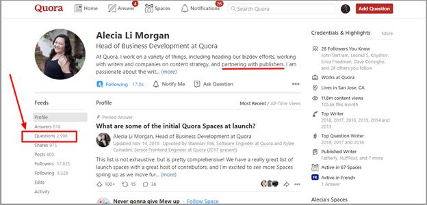 finding partner relations on quora