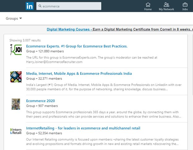 Join and participate in LinkedIn groups